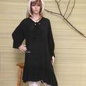 THALIA  - lagenlook tunika-ruha XXL, Ruha, divat, cipő, Női ruha, Ruha, Blúz, Lágyan omló puha, lenge, csíkos pamut-zsorzsettből  készítettem most ezt a kedvelt modellemet. Köthe..., Meska