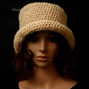 FLAPPER -  nyers horgolt kalap , Ruha, divat, cipő, Kendő, sál, sapka, kesztyű, Női ruha, A '20-as évek stílusában készült fejbe húzható, horgolt kalapom prémium minőségű pamut és gyapjúfona..., Meska
