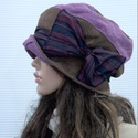 BERTA / rustic - kézműves kalap , Ruha, divat, cipő, Kendő, sál, sapka, kesztyű, Sapka, Női ruha, Rusztikus, mályva és barna színre kézzel festett lenszövetből készült öblös, stílusos kalapocska szé..., Meska