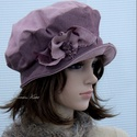 MELODY - romantikus design-kalap, Ruha, divat, cipő, Kendő, sál, sapka, kesztyű, Sapka, Női ruha, Shabby-chic stílusban készítettem ezt a kedves kalapocskát az anyag színe-visszája felhasználásával,..., Meska