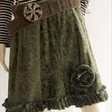 OLIVA - patchwork zsenília-szoknya, Olívzöld zsenília és szőröcskés felületű ...