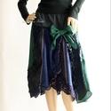 SILVANA - patchwork szövet-szoknya, Ruha, divat, cipő, Női ruha, Szoknya, Válogatott kék és zöld gyapjú-szövetekből készült őszi-téli patchwork-szoknya.  Egy bohém ruhatár lá..., Meska