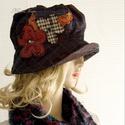MARGITKA - design-kalap, Ruha, divat, cipő, Női ruha, Kendő, sál, sapka, kesztyű, Sapka, Különleges, tüll-borítású vászonból terveztem ezt a karimás kalapocskát.   Steppelt-visszahajtós kar..., Meska