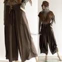 GALINA - rusztikus burett szárongnadrág, Ruha, divat, cipő, Női ruha, Kismamaruha, Nadrág, Rusztikus szövésű, étcsoki-barna színű, vastag burett-selyem az anyaga ennek a rátett-zsebes szárong..., Meska