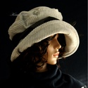 """ANDERSEN - ezüstszürke design-kalap, Ruha, divat, cipő, Kendő, sál, sapka, kesztyű, Sapka, Női ruha, Kézzel festett elefántkordból készítettem ezt a romantikus """"mesebeli"""" kalapom.  Merevített ernyős na..., Meska"""