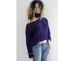 INDIGÓ - exkluzív kötött mohair pulóver sállal, Ruha, divat, cipő, Női ruha, Felsőrész, póló, Kendő, sál, sapka, kesztyű, Téli elegancia: Gyönyörű indigó-lila pihe-puha mohair-fonalból, fekete selymes-buklés kísérőszállal ..., Meska