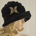 """ERNA cloche - bársony flapper kalap, Ruha, divat, cipő, Női ruha, Kendő, sál, sapka, kesztyű, Sapka, Az 1920-as évek flapper divatja köszön vissza """"ERNA"""" fantázianevű, rakott-tetejű, harang-szabású, mé..., Meska"""