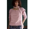 ALPACA-pulcsi - kézzel kötött design-pulóver, Ruha, divat, cipő, Női ruha, Ruha, Gyönyörű, púder-rózsaszínű alpaka-fonalakból készült, vatta-puhaságú, klasszikusan elegáns, meleg pu..., Meska