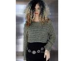 FŰZÉRES - kézzel kötött trendi pulóver, Ruha, divat, cipő, Női ruha, Ruha, Penész-zöld színárnyalatú pihe-puha kid- selyem mohair fonalmix-bőll készült, vatta-puhaságú rövid p..., Meska