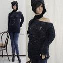 GRUNGE - kézzel kötött bohém pulóver, Ruha, divat, cipő, Női ruha, Ruha, Felsőrész, póló, Extravagáns, 3-szálas fonal-mixből melírozott, szálledobásos technikával kötött pulóver. Könnyed, la..., Meska