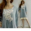 """BLUE ANGEL  - kézműves lagenlook ruha, Ruha, divat, cipő, Női ruha, Kismamaruha, Ruha, Népszerű """"angyal-tunikám"""" ruha-hosszúságú, könnyű pamutvászonból készült változata. Palakék színre f..., Meska"""