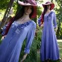 BEATRIX - artsy design princessz-ruha , Ruha & Divat, Női ruha, Ruha, Varrás, Festett tárgyak, Kedvelt romantikus modellem rusztikus, nyers pamutvászonból készítettem, encián-kékre festettem.  (..., Meska