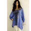 GIGI / tinta - batikolt lagenlook tunika , Ruha, divat, cipő, Női ruha, Felsőrész, póló, Blúz, Rusztikus vékony gézemből tervezett bő-vonalú lagenlook tunikám tinta-kékre foltocskásan fes..., Meska