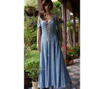 GENOVA kirtle - romantikus design-ruha, Ruha & Divat, Ruha, Női ruha, Festett tárgyak, Varrás, Rusztikus, puha pamutvásznamból készítettem a kora-középkori kirtle általam modernizált szabásmintá..., Meska