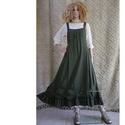 ARTSY SLIP / KEKI - lagenlook design kötényruha, Ruha & Divat, Ruha, Női ruha, Varrás, Keki-zöld színű puha lenvászonból készült kényelmes kötényruha a réteges öltözködéshez: Alul fodorr..., Meska