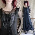 GERDA - artsy applikált jersey design ruha tüll-toppal, Ruha & Divat, Női ruha, Alkalmi ruha & Estélyi ruha, Varrás, Különleges , mellrészen applikált, alul elcsípésekkel formázott hosszú-ruha szép esésű hollófekete ..., Meska