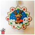 Rudolf a Rénszarvas Karácsonyfadísz, Karácsonyi, adventi apróságok, Karácsonyfadísz, Karácsonyi dekoráció, Gyurma, Rénszarvast ábrázoló kézzel készített karácsonyfadísz FIMO süthető gyurmából.  Méret:~8 cm  A karác..., Meska