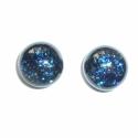 Kék csillogó aventurin üvegékszer gombfüli, Kék aventurin ékszerüvegből készítettem ezt ...