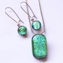 Zöld dichroic üvegékszer szett, Zöld színben csillogó dichroic ékszerüvegből...