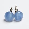Kék márványos üvegékszer fülbevaló, Kék márványos üvegből készítettem a fülbev...