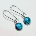 Kék csillogás hosszú üvegékszer fülbevaló, Kék és zöld színben csillogó dichroic ékszer...
