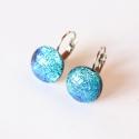 Kék csillogás franciakapcsos üvegékszer fülbevaló, Kék és zöld színben csillogó dichroic ékszer...