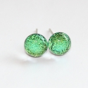Mini zöld-kék szikrázás üvegékszer fülbevaló, Kék, almazöld és középzöld színben, szikrá...