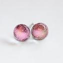 Mini rózsaszín szikrázás üvegékszer fülbevaló, Rózsaszín árnyalataiban szikrázóan csillogó ...