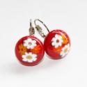 Csupavirág üvegékszer fülbevaló, Piros üvegre színes millefiori gyöngyöket olva...
