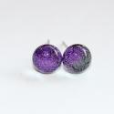 Mini lila szikrázás üvegékszer fülbevaló, Szikrázóan csillogó lila dichroic ékszerüvegb...