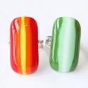 Selyemcukor üvegékszer gyűrűk, Piros, narancs, citromsárga és középzöld, men...