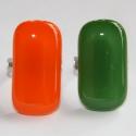 Narancs-mohazöld páros üvegékszer gyűrű, Narancssárga és mohazöld üvegből,készítette...