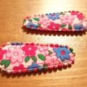 ÚJDONSÁG: Tavaszi virágmintás mini csitt csat pár, 2 színkombinációval