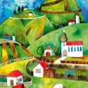 Az én kis falum - Print (Akvarell), Az eredeti illusztráció akvarellel készült, a ...