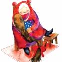 """Az én drága nagymamám - Print (Akvarell), Képzőművészet, Baba-mama-gyerek, Dekoráció, Illusztráció, """"Esténként kényelembe helyezte magát a széken, maga mellé húzta a kicsi sámlit, felrakta a fájós láb..., Meska"""