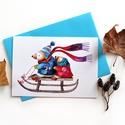 Itt a karácsony! 2. - Képeslap borítékkal (A/6), Naptár, képeslap, album, Képeslap, levélpapír, A/6-os méretű képeslap, kék borítékkal.  250 grammos, szuperfényes, kiváló minőségű papírra van nyom..., Meska
