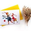 Itt a karácsony! - Képeslap borítékkal (A/6), Naptár, képeslap, album, Szerelmeseknek, Képeslap, levélpapír, A/6-os méretű képeslap, sárga borítékkal.  250 grammos, szuperfényes, kiváló minőségű papírra van ny..., Meska