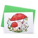 Gombák - Képeslap borítékkal (A/6), A/6-os méretű képeslap, zöld borítékkal.  25...
