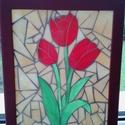 Tulipán mozaik falikép ablakkép, Dekoráció, Kép, Mozaik, 18x24 cm-es üveglapra mozaik technikával  ragasztott, színes spectrum üveg. Falra vagy ablak elé eg..., Meska