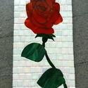 mozaik rózsa falikép, Dekoráció, Kép, Mozaik, Mozaikkal kirakott rózsa falikép.  A kép mérete 16x32 cm (szélesség x magasság). Vastagsága: 1cm we..., Meska