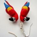 AraPapagájos fülbevaló , Ékszer, Fülbevaló, Gyurma, Vidám, színes, vagány, és nagyon egyedi kiegészítő állatbarátoknak:) A kedves kis papagájok csak ar..., Meska