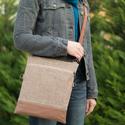 VARIA kollekció - Állítható valódi bőr pántos táska, Erős, strapabíró, mosható szövetből varrtam ...