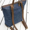 NINOX kollekció - Farmer-bőr hátizsák, Minimál hátizsák, Táska, Válltáska, oldaltáska, Hátizsák,  Farmer és bőr felhasználásával készült női hátizsák.  Táska külső: farmer és sötétb..., Meska