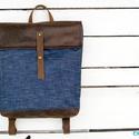 NINOX kollekció - Farmer-bőr hátizsák, Minimál hátizsák, Táska, Válltáska, oldaltáska, Hátizsák,  Farmer és bőr felhasználásával készült női hátizsák.  Táska külső: farmer és sötétbarna letörölhető..., Meska