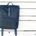 NINOX kollekció - Waxos farmer-bőr hátizsák, Minimál hátizsák, Waxolt farmer és bőr felhasználásával készü...