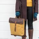 NINOX kollekció - mustársárga szövet-barna bőr hátizsák, Minimál hátizsák, Táska, Válltáska, oldaltáska, Hátizsák,  Mustársárga szövet és barna bőr felhasználásával készült női hátizsák.  Táska külső: mustársárga sz..., Meska