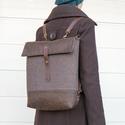 NOCTUA kollekció - barna szövet-barna bőr hátizsák, oldal-, vagy válltáska, Táska, Válltáska, oldaltáska, Hátizsák, Olyan táskát terveztem, amelyet háton, keresztben, és a válladon tudsz hordani. A karabineres bőrpán..., Meska