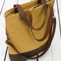 CAPENSIS kollekció - Variálható valódi bőr pántos mustársárga-barna szövettáska , Táska, Válltáska, oldaltáska, Laptoptáska, Erős, strapabíró, mosható szövetből varrtam ezt a háromféleképp hordható táskát. Hosszú pántja állít..., Meska