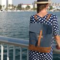 NOCTUA kollekció - kék-camel barna valódi bőr pántos hátizsák, oldal-, vagy válltáska, Olyan táskát terveztem, amelyet háton, keresztb...