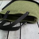 CAPENSIS kollekció - Variálható valódi bőr pántos olivazöld-fekete szövettáska, Táska, Válltáska, oldaltáska, Erős, strapabíró, mosható szövetből varrtam ezt a háromféleképp hordható táskát. Hosszú pántja állít..., Meska